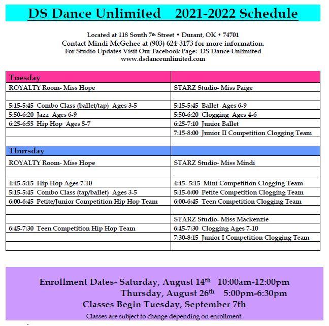 2021-2022 DSDU Schedule